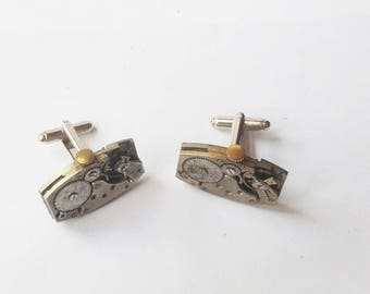 Steampunk Cufflinks, rounded oblong