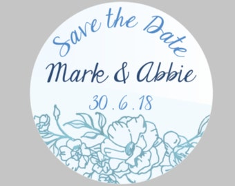 Personalised 'Save the Date' Stickers in BLUE