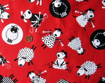 "Fun Sheep Print Fabric ( Red ) - Fat Quarter    22"" x 18"""