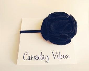 Black Rosette - Newborn Headband