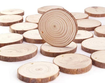 10 Pcs Slices Round Unfinished Predrilled Wood, Shape for Craft Decoration, Wooden Hang Tag, Diy Ornament, Bag Tag, Blank Name, 2-2.5 inch