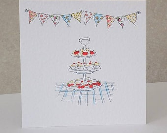 Bunting Tea Birthday Card