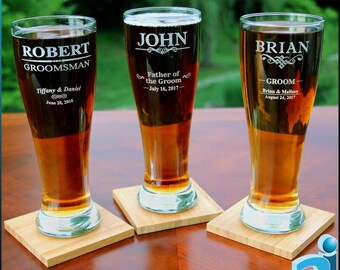 Personalized Pilsner Glasses, 16 oz. - Free Gift Boxes and Digital Proofs - Wedding, Groomsman, Best Man, Usher, Father of the Bride