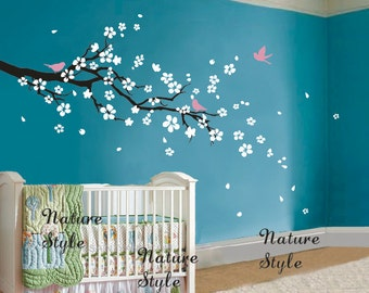 FREE SHIPPING - cherry blossom wall decals flower vinyl wall decal tree girl nursery sticker baby children-plum blossom with Flying Birds
