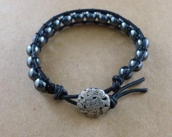 Hematite and Black Leather Bracelet