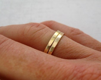 Yellow Gold Rings, Ring Enhancer, 14K Yellow Gold Hand Forged Stacking Rings, Faceted Texture 2mm, Sea Babe Jewelry