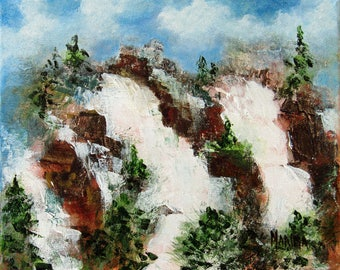 Landscape Painting Waterfall, Original Plein Air Landscape Painting, Impressionism, Home Decor, Wall Decor, Canvas Art