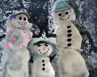 Seaglass Family, Baby's first Christmas, Snowfamily, Beachglass Art