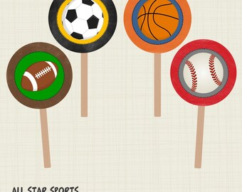 """INSTANT DOWNLOAD All Star Sports Cupcake Toppers Party Circles 2""""  PDF"""