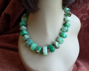 Agate (Chalcedony) greens large natural bead necklace