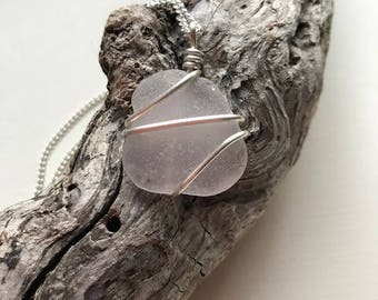 Light Pink Sea Glass Necklace