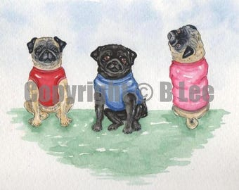 ORIGINAL PAINTING of  Pugs ... a Watercolor Painting