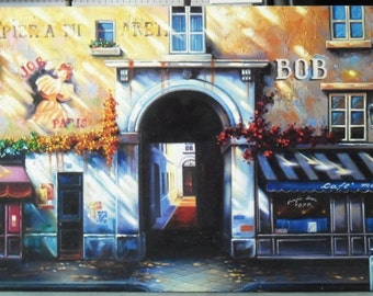"""Old building painting oil painting on canvas 24""""X54"""""""
