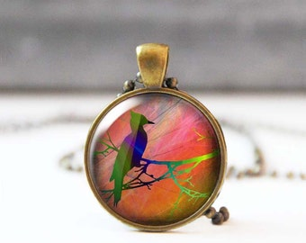 Woodpecker on branch Art necklace, Round Image pendant, Nature inspired jewelry, Wearable art, Nature lover gift, 5018-6, Mother's day gift