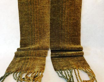 Handwoven Chenille Scarf, Brown Scarf, Chenille Scarf, Woven Scarf, Handwoven Scarf, Handwoven Chenille Scarf, Woven Scarf (#17-15B)