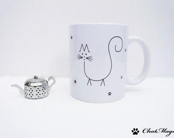 Mug, cat mug, coffee mug, minimalist mug, original mug, catlover gift, funny cat mug, cat gift, purrfect, ChatMage, personalized mug