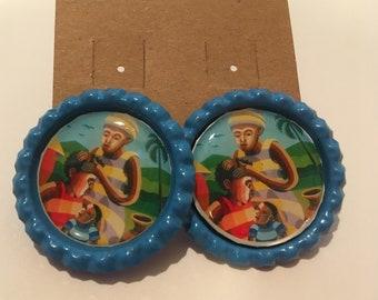 African bottle cap earrings