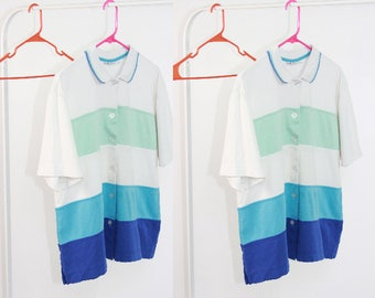 Color Block Chunky Stripe Polo / Blue Gradient Button Down Pattern / S M L