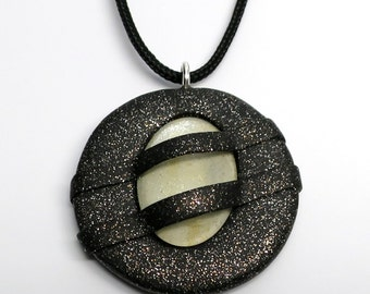 Pendant Polymer Clay with Galaxy Glass Cabochon, Black and White