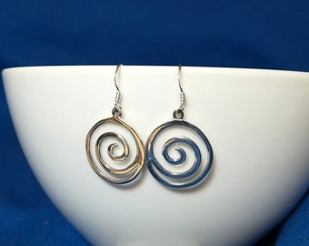 Silver spiral earrings, Sterling Silver 925 hoop earrings, Gypsy Earrings, Tribal Earrings, Ethnic Earrings, Statement Earrings