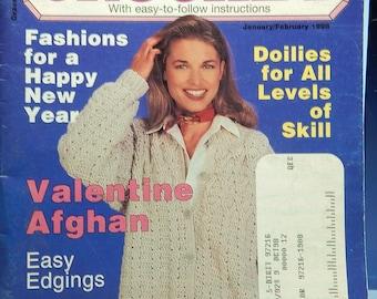 1998 QUICK & EASY CROCHET ..13+ Projects..Jan-Feb Edition..Tdoilies...valentine afghan...edgings...jacket...folk art