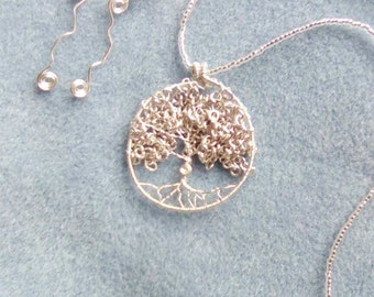 Beautiful,Silver,Willow Tree of Life,Love,Necklace,Set