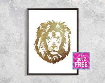Gold Lion watercolor print, Wild Animal Print, Modern Decor, Gold Lion Art, Watercolor Gift, lion print, watercolor, animal, lion drawing