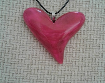Wooden Heart Pendant Pink- Large