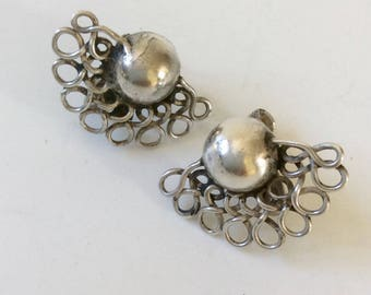 """1940s William Spratling Taxco Sterling Silver """"Lace Moons"""" Earrings"""