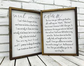 Wedding Vow Frame, Wedding Vows for Her, Wedding Vow Canvas, Wedding Vow Art, Wedding Vow Wall Art, Wedding Vow Sign, Wedding Vows Wood