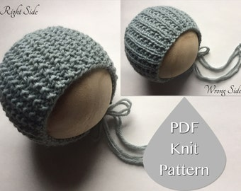 PDF Knit Pattern #0035 The Erin Knit Bonnet,Newborn,Knit PDF Pattern,Tutorial,Knit Pattern,Knit,Purl,Beginner,Easy,Instruction,Newborn