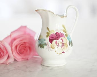 Antique Floral Pitcher Vase