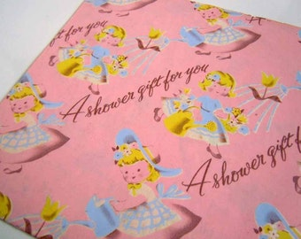 Vintage Bridal Shower Wrapping Paper Pink Sweet Little Girl Southern Belle Mid Century Gift Wrap