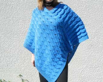 Poncho wrap shoulders warmer in cobalt blue hand made knitted lacy pattern chunky cotton