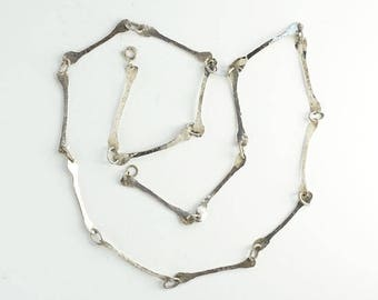 Vintage Studio Artist Hand Hammered Sterling Silver Modernist Link Necklace 29 Inch