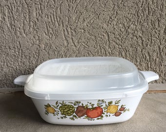 Corning Spice of Life Petite Pan w/ Clear Plastic Lid P-41-B Vintage - #D2058