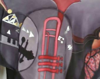 "Music scarf,piano,violin, trumpet,Moths,silk scarf, 34"" X 34"", Handmade Silk Scarf, Hand Painted Silk Scarf, grey, pink, Scarves, black"