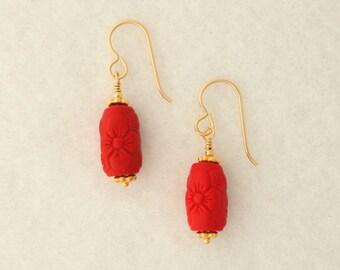 Red Cinnabar and Vermeil Earrings
