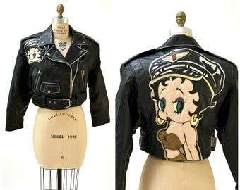 Vintage Black Leather Motorcycle Jacket Betty Boop by Maizar// 90s 80s Black Leather Biker Jacket Betty Boop Comic Cartoon MEDIUM LARGE