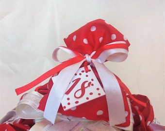 20 Millerighe fabric bags with polka dots birthday 18 years