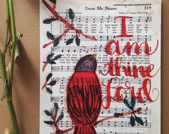 Draw Me Nearer - Christian Hymn - Hymnal - Art Print - Watercolor Painting - Red Bird - Church Worship Music