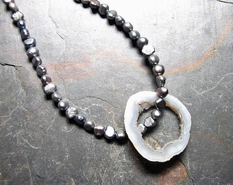 Steel Gray Freshwater Pearl Necklace, Raw Geode Removable Stone Charm, Sterling Silver, 16 inches in length
