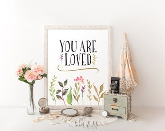 You are loved printable, Printable art, Nursery decor, Nursery wall art, Nursery print, You are loved, Watercolor art HEART OF LIFE Design