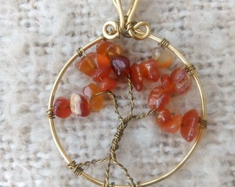 Carnelian and Gold Wire Wrapped Tree of Life Pendant