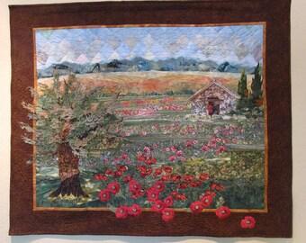 "Landscape quilt : ""French Poppies""- Original  appliqued art"