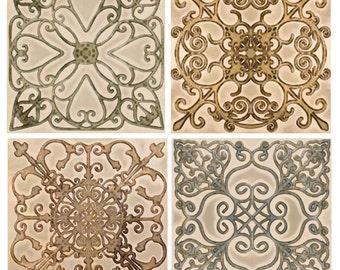 Scroll Backsplash Tile Set Ceramic Accent Border Decorative Kitchen Bath
