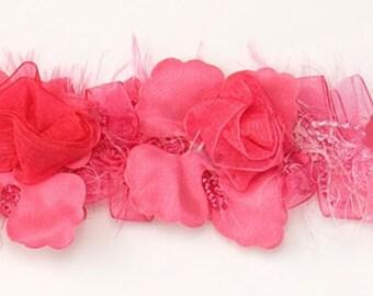 E5665 Fuchsia Rose Floral Stretchy Sewing Trim