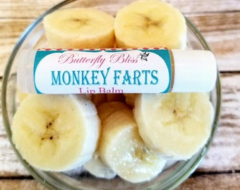 monkey farts | monkey farts lip balm | organic lip balm | natural lip balm | banana lip balm | funny gifts for friends | homemade gifts