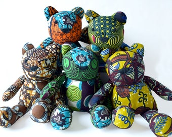 Patchwork bear, teddy bear, recycled African cotton fabrics, soft toys, baby's room decor, bear cub, plush toy, cuddly toy, baby gift, birth