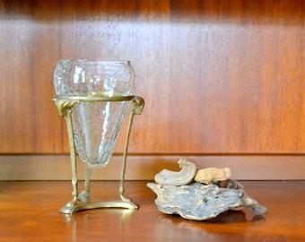vintage brass ram floating glass vase / hollywood regency decor / mid century brass planter